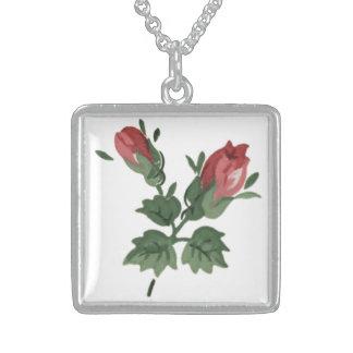 Vintage Roses Sterling Silver Square Necklace