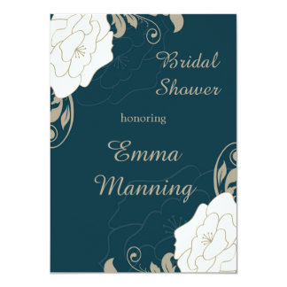 Vintage roses, swirls on teal Bridal Shower 4.5x6.25 Paper Invitation Card