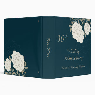 Vintage roses & swirls on teal Wedding Anniversary 3 Ring Binder
