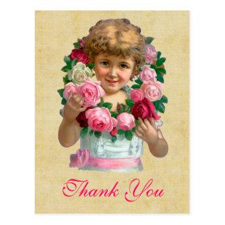 Vintage Roses Thank You Postcard