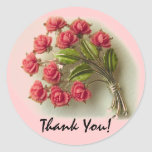 Vintage Roses Thank you Sticker