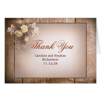 vintage roses thank you wedding cards