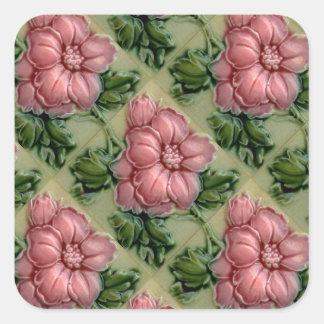 Vintage Roses Tile Design Arts Crafts Art Nouveau Square Sticker