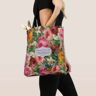 Vintage Roses TOTE Personalized EDIT TEXT