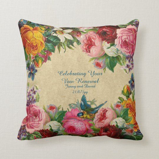 Vintage Roses Vow Renewal Personalized Throw Pillow Zazzle