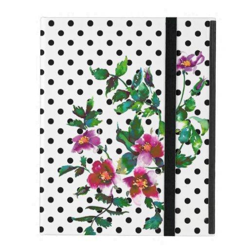 Vintage roses - watercolor painting -  polka-dots iPad case