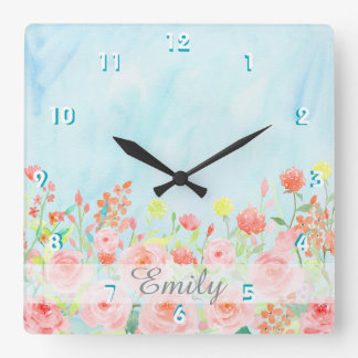 vintage roses watercolor pink blue customizable square wall clock