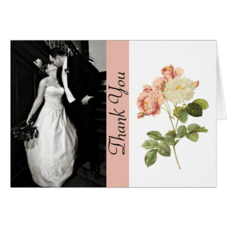 Vintage Roses Wedding Photo Thank You Card
