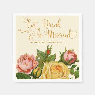 Vintage Roses, Wedding Reception Napkins Disposable Napkin