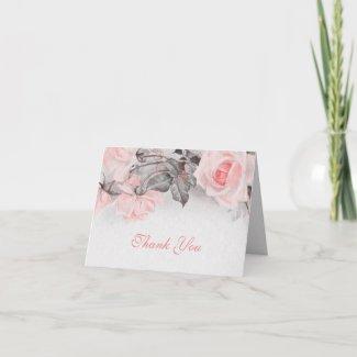 Vintage Roses Wedding Thank You Card card