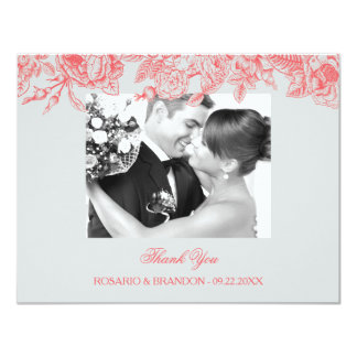 Vintage Roses Wedding Thank You Card