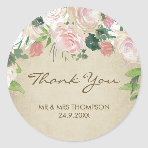vintage roses wedding thank you favour sticker
