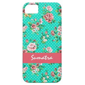 Vintage Roses White Polkadots Whimsical Pattern iPhone 5 Covers