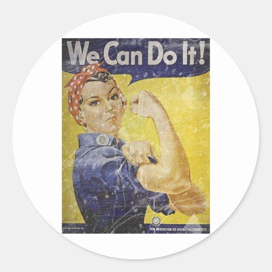 Vintage Rosie The Riveter Classic Round Sticker