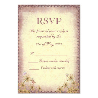 Vintage Rosy Brown Floral Wedding RSVP Personalized Announcement