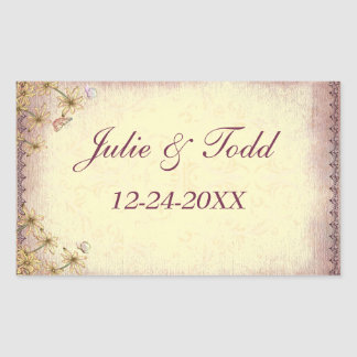Vintage Rosy Brown Floral Wedding  Save The Date Rectangular Sticker