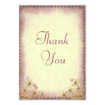 Vintage Rosy Brown Floral Wedding  Thank You Card