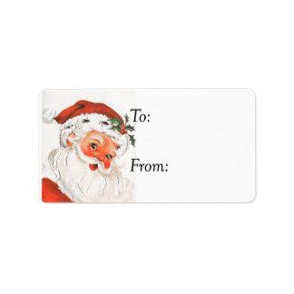 Vintage Rosy Cheeked Jolly Santa Gift Tag