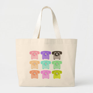 vintage rotary dial telephone large tote bag