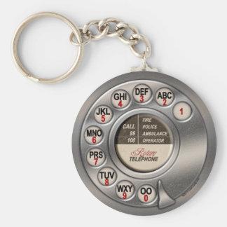 Vintage Rotary Phone Basic Round Button Keychain