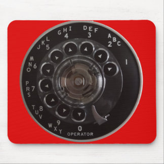 Vintage Rotary Phone Dial Mousepad (Red)