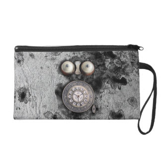 Vintage Rotary phone dial on congregation grunge Wristlet Purse