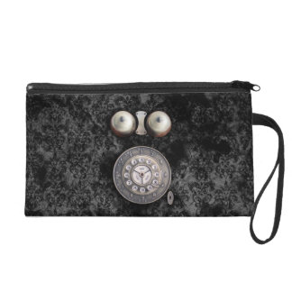 Vintage Rotary phone dial on damask grunge wall Wristlet Purse