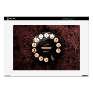 """Vintage Rotary phone dial on network grunge wall 15"""" Laptop Decals"""