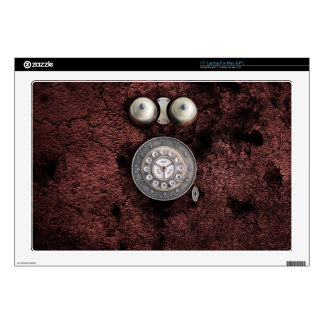 Vintage Rotary phone dial on network grunge wall Decal For Laptop