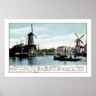 Vintage Rotterdam The Netherlands Old Port Poster