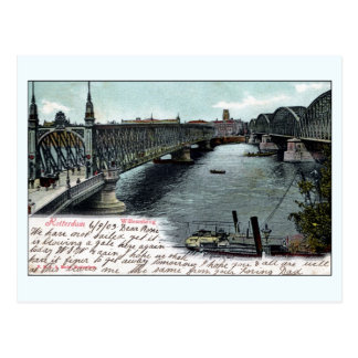 Vintage Rotterdam The Netherlands Willems Bridge Postcard