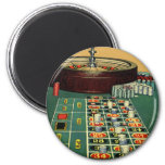 Vintage Roulette Table Casino Gambling Chips Game 2 Inch Round Magnet