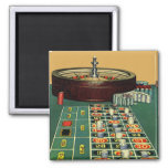 Vintage Roulette Table Casino Gambling Chips Game 2 Inch Square Magnet