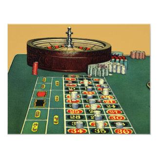 Vintage Roulette Table Casino Gambling Chips Game 4.25x5.5 Paper Invitation Card