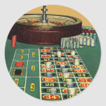 Vintage Roulette Table Casino Gambling Chips Game Classic Round Sticker
