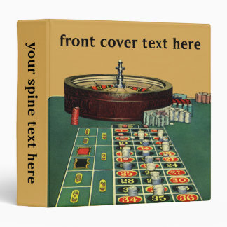 Vintage Roulette Table Casino Game, Gambling Chips 3 Ring Binder