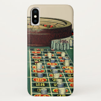 Vintage Roulette Table Casino Game, Gambling Chips iPhone X Case