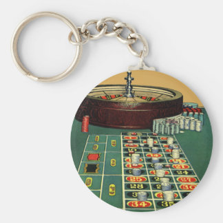 Vintage Roulette Table Casino Game, Gambling Chips Keychain