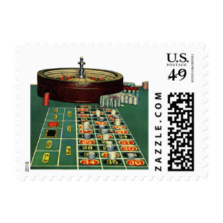 Vintage Roulette Table Casino Game, Gambling Chips Postage