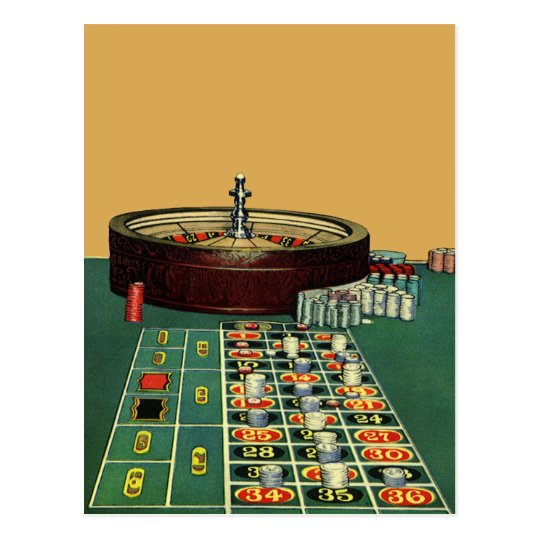 Vintage Roulette Table Casino Game, Gambling Chips Postcard