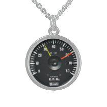 Vintage Round Analog Auto Tachometer Necklace