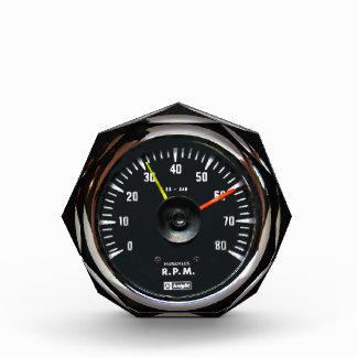 Vintage Round Analog Auto Tachometer Octagonal Awa Acrylic Award