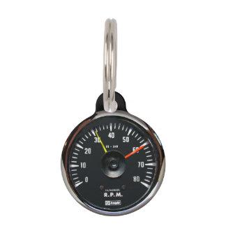 Vintage Round Analog Auto Tachometer Pet ID Tag