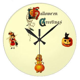 Vintage Round Halloween Greetings Wall Clock