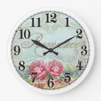 Vintage Round (Large) Wall Clock/Romance Roses Large Clock