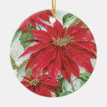 Vintage Round  Poinsettia Christmas Tree Ornaments