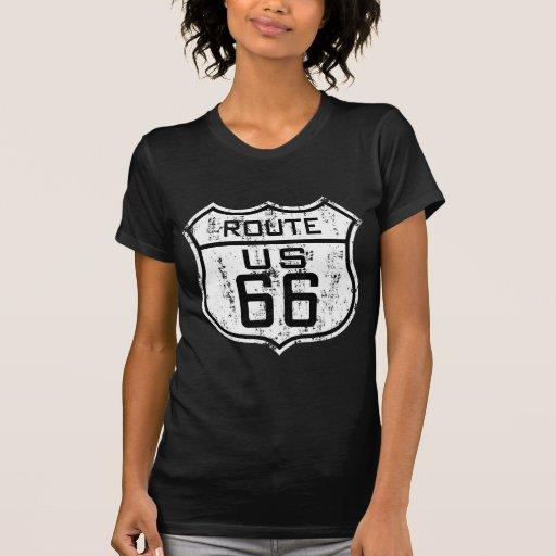 Vintage Route 66 - Distressed Design T Shirts