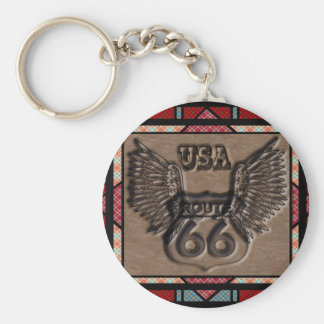 vintage route 66 leader america higway basic round button keychain