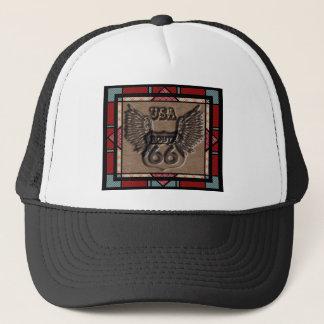 vintage route 66 leader america higway trucker hat