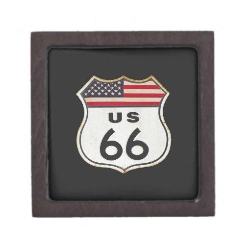 Vintage Route US 66 sign. Premium Keepsake Boxes